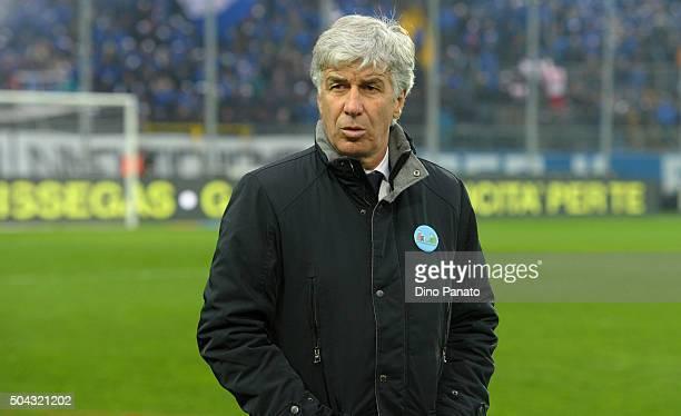 Head coach of Genoa Gian Piero Gasperini looks on during the Serie A match between Atalanta BC and Genoa CFC at Stadio Atleti Azzurri d'Italia on...