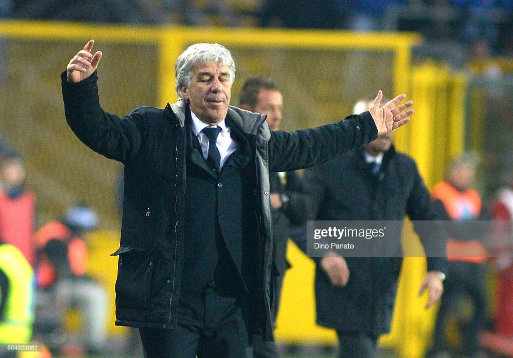 Head coach of Genoa <a gi-track='captionPersonalityLinkClicked' href=/galleries/search?phrase=Gian+Piero+Gasperini&family=editorial&specificpeople=4667555 ng-click='$event.stopPropagation()'>Gian Piero Gasperini</a> reacts during the Serie A match between Atalanta BC and Genoa CFC at Stadio Atleti Azzurri d'Italia on January 10, 2016 in Bergamo, Italy.