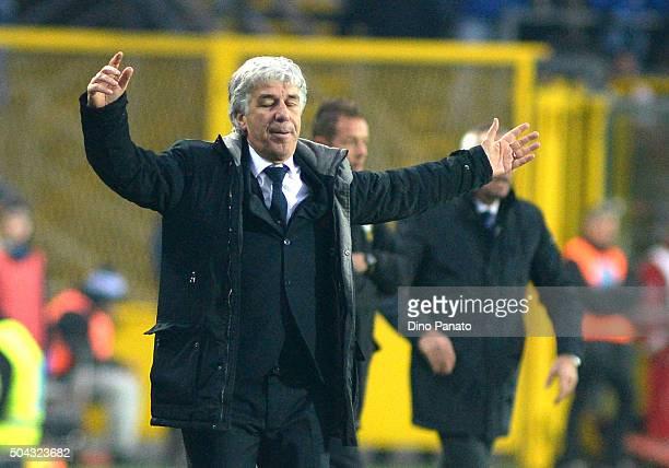 Head coach of Genoa Gian Piero Gasperini reacts during the Serie A match between Atalanta BC and Genoa CFC at Stadio Atleti Azzurri d'Italia on...