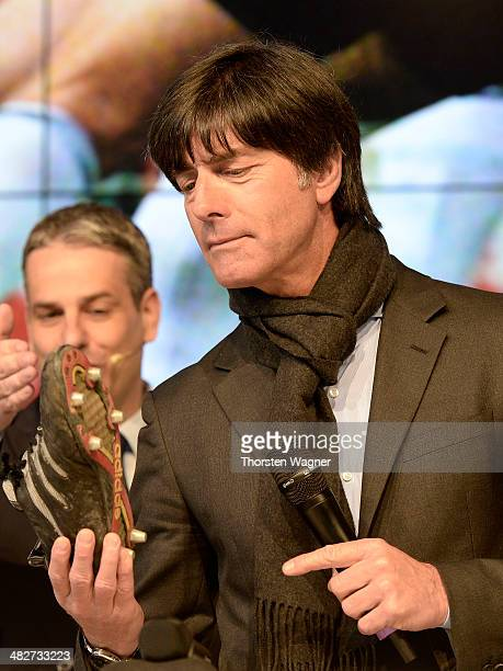 Head coach of German National Football Team Joachim Loew looks on during the topping out ceremony of German Football Association football museum on...
