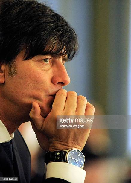 Head coach of German National team Joachim Loew looks on during the German Football Association Bundestag at the Steigenberger Airport Hotel on April...