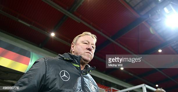 Head coach of Germany Horst Hrubesch enters the pitch prior to the 2017 UEFA European U21 Championships Qualifier between U21 Germany and U21...