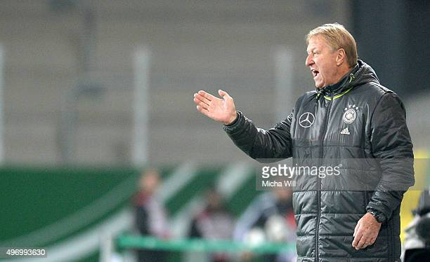 Head coach of Germany Horst Hrubesch gives instructions during the 2017 UEFA European U21 Championships Qualifier between U21 Germany and U21...