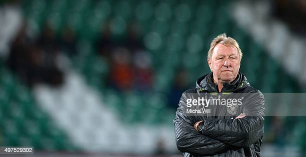 Head coach of Germany Horst Hrubesch looks on during the 2017 UEFA European U21 Championships Qualifier between U21 Germany and U21 Austria at...