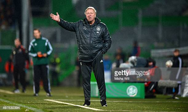 Head coach of Germany Horst Hrubesch reacts during the 2017 UEFA European U21 Championships Qualifier between U21 Germany and U21 Austria at Stadion...