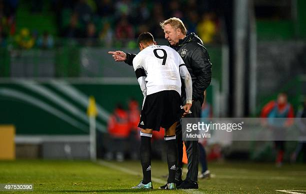 Head coach of Germany Horst Hrubesch talk to Davie Selke of Germany during the 2017 UEFA European U21 Championships Qualifier between U21 Germany and...