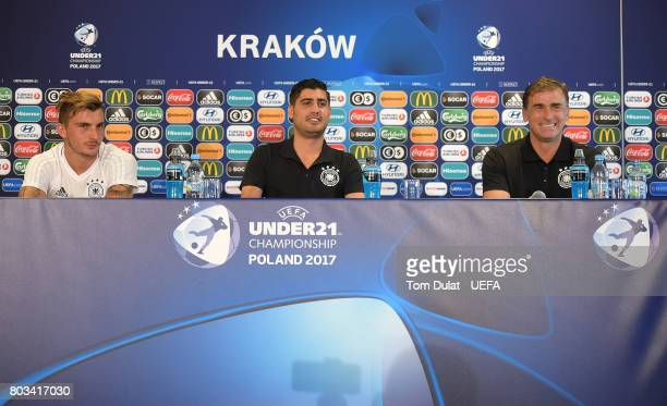 Head coach of Germany Stefan Kuntz and Maximilian Philipp of Germany speak to the media during a press conference at Krakow Stadium on June 29 2017...