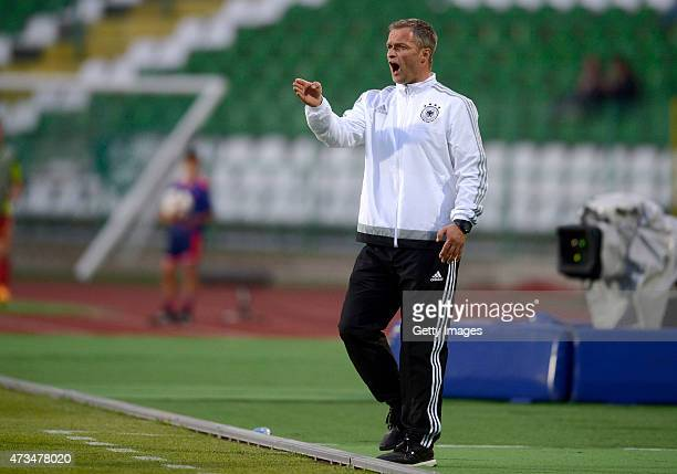 Head Coach of Germany U17 Christian Wueck gestures during the UEFA European Under17 Championship quarter finals match between Germany U17 and Spain...