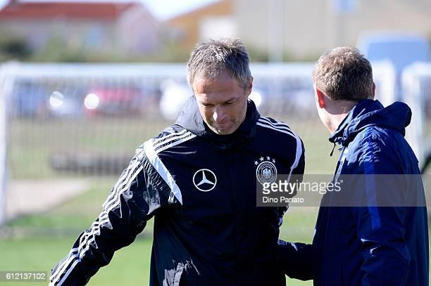 Head coach of Germany U17 Christian Wueck looks on UEFA Development Tournamnent between England U17 and Germany U17 at Stadium Meduline on October 3...