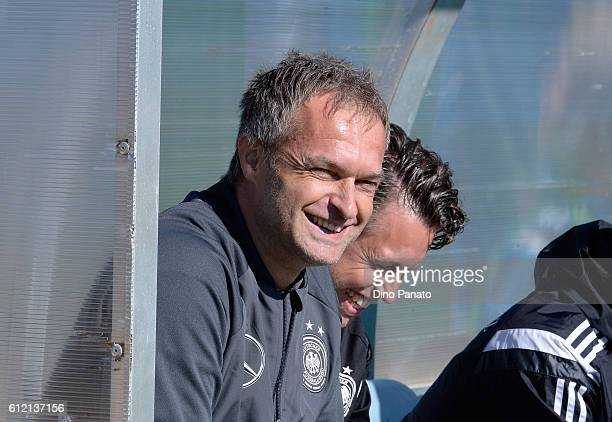 Head coach of Germany U17 Christian Wueck looks on UEFA Development Tournamnent between England U17 and Germany U17 at Stadium Meduline on October 3...