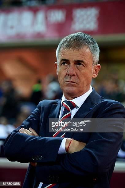 Head Coach of Granada CF Lucas Alcaraz looks on during the match between Granada CF vs Sporting Gijon as part of La Liga at Nuevo los Carmenes...