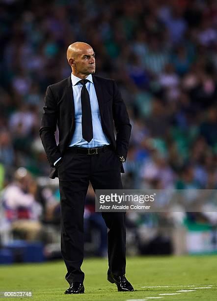 Head Coach of Granada CF Paco Jemez looks during the match between Real Betis Balompie vs Granada CF as part of La Liga at Benito Villamarin stadium...