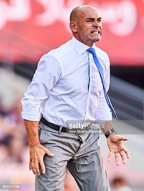 Head Coach of Granada CF Paco Jemez reacts during the match between Granada CF vs SD Eibar as part of La Liga at Nuevo los Carmenes Stadium on...