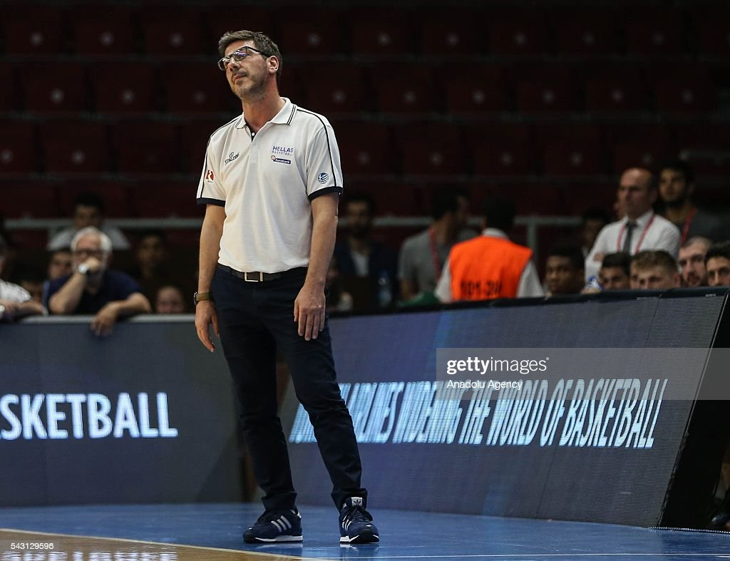 Head Coach of Greece Fotis Katsikaris gestures during the friendly match at Abdi Ipekci Sports Hall in Istanbul, Turkey on June 26, 2016.