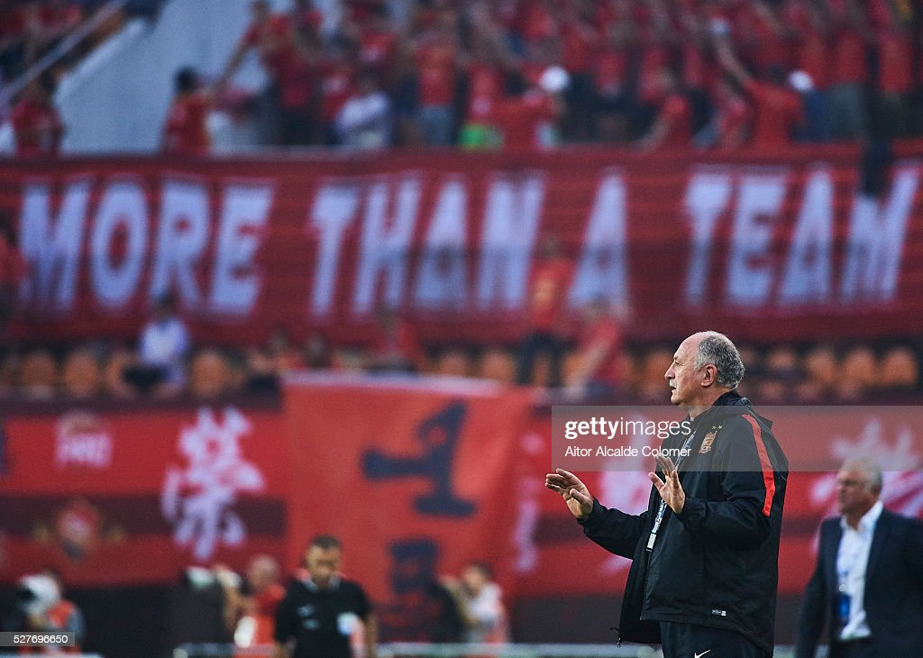 Head coach of Guangzhou Evergrande Luiz Felipe Scolari reacts during the AFC Asian Champions League match between Guangzhou Evergrande FC and Sydney FC at Tianhe Stadium on May 3, 2016 in Guangzhou, China.