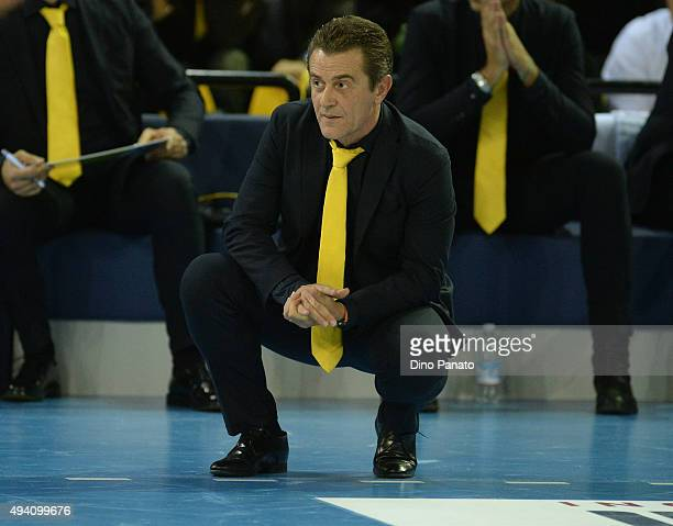 Head coach of HDL Modena Angelo Lorenzetti looks on during the Italian Volleyball Supercup at Palapannini on October 24 2015 in Modena Italy
