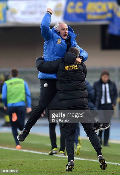 Head coach of Hellas Verona Andrea Mandorlini celebrate after scoring Juanito teams second goal during the Serie A match between Hellas Verona FC and...
