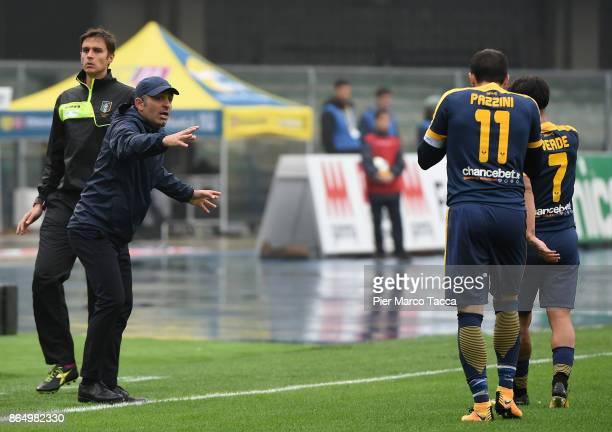 Head Coach of Hellas Verona Fabio Pecchia gestures during the Serie A match between AC Chievo Verona and Hellas Verona FC at Stadio Marc'Antonio...