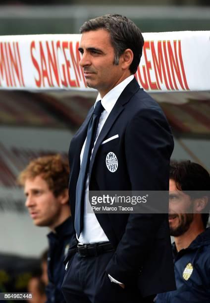 Head Coach of Hellas Verona Fabio Pecchia looks during the Serie A match between AC Chievo Verona and Hellas Verona FC at Stadio Marc'Antonio...