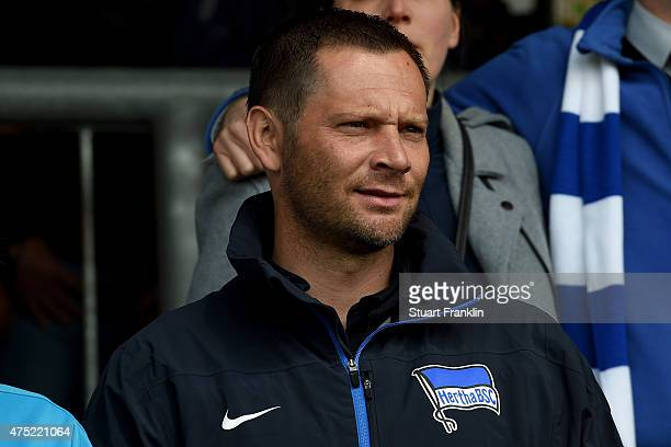 Head coach of Hertha BSC Berlin Bundesliga team Pal Dardai looks on prior to the DFB Juniors Cup Final 2015 between Energie Cottbus U19 and Hertha...