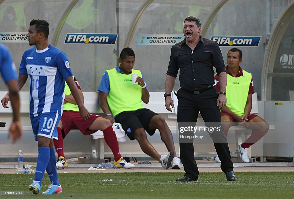 Head coach of Honduras <a gi-track='captionPersonalityLinkClicked' href=/galleries/search?phrase=Luis+Fernando+Suarez+-+Soccer+Coach&family=editorial&specificpeople=548216 ng-click='$event.stopPropagation()'>Luis Fernando Suarez</a> yells at his players during a game against the United States during the second half of a World Cup qualifying match on June 18, 2013 at Rio Tinto Stadium in Sandy, Utah.