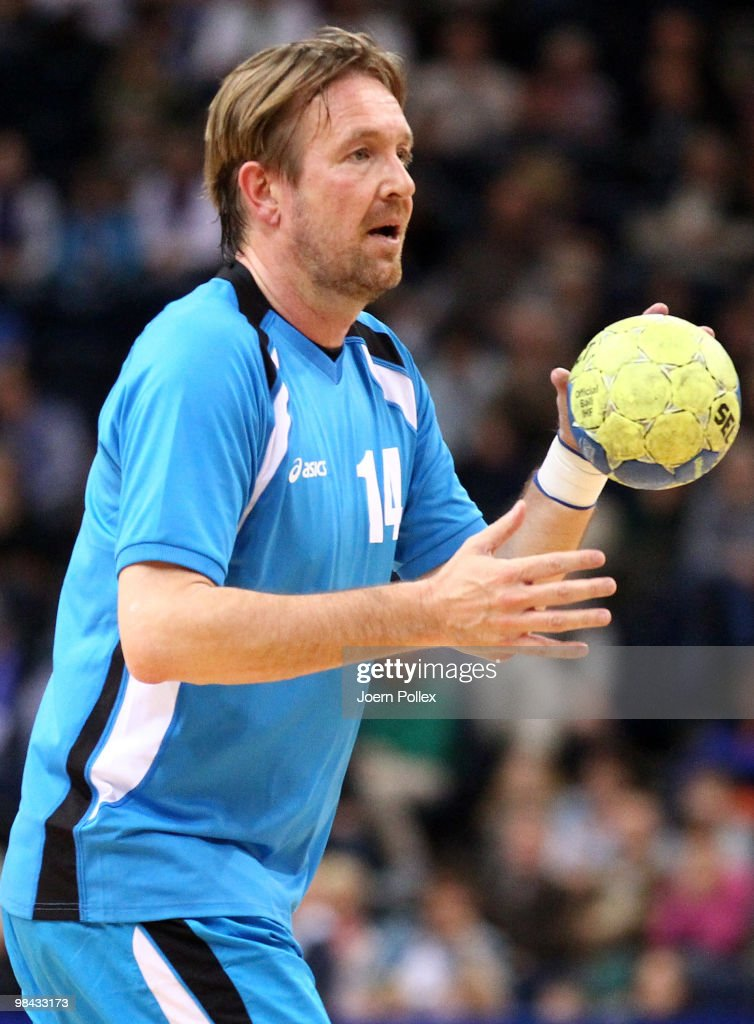 Head coach of HSV Handball Martin Schwalb in action during a friendly match prior to the charity match for benefit of Oleg Velyky's family at the...