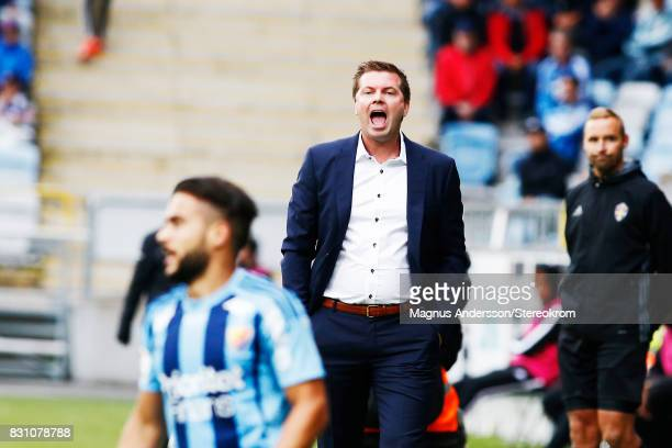 Head coach of IFK Norrkoping Jens Gustafsson during the Allsvenskan match between IFK Norrkoping and Djurgardens IF on August 13 2017 in Norrkoping...