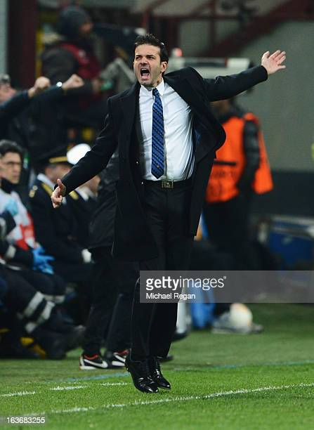 Head coach of Inter Milan Andrea Stramaccioni celebrates as Rodrigo Palacio of Inter Milan scores their second goal during UEFA Europa League Round...