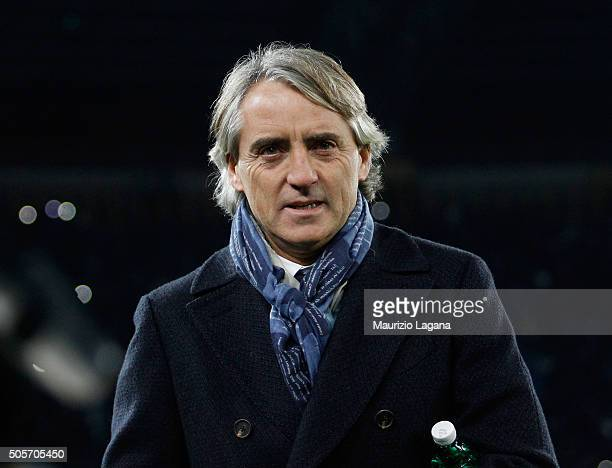 Head coach of Inter Roberto Mancini during the TIM Cup match between SSC Napoli and FC Internazionale Milano at Stadio San Paolo on January 19 2016...