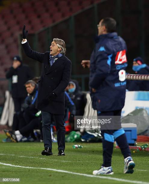 Head coach of Inter Roberto Mancini gestures during the TIM Cup match between SSC Napoli and FC Internazionale Milano at Stadio San Paolo on January...