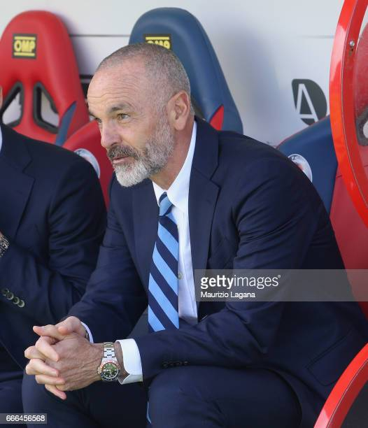 Head coach of Inter Stefano Pioli looks on during the Serie A match between FC Crotone and FC Internazionale at Stadio Comunale Ezio Scida on April 9...