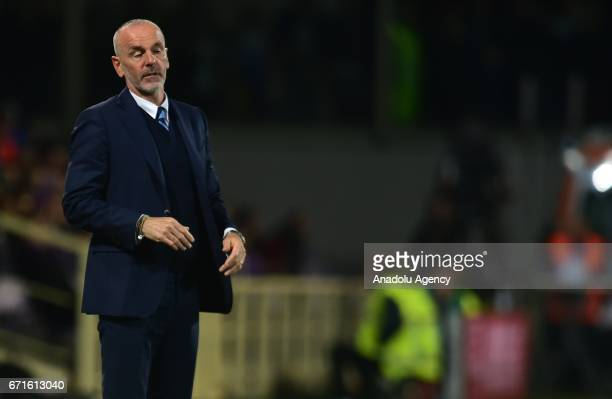 Head coach of Inter Stefano Pioli reacts during the Serie A match between ACF Fiorentina v FC Internazionale at Stadio Artemio Franchi in Florence...
