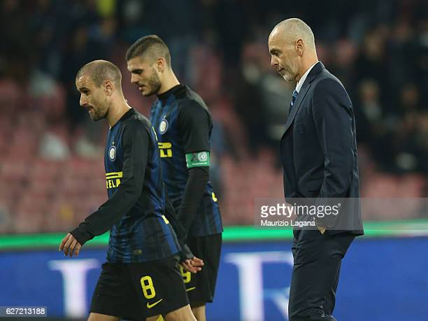 Head coach of Inter Stefano Pioli shows his dejection during the Serie A match between SSC Napoli and FC Internazionale at Stadio San Paolo on...
