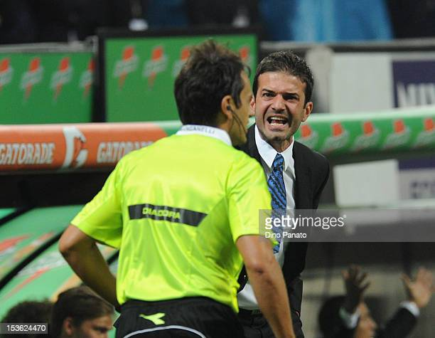 Head coach of Internazionale Milano Andrea Stramaccioni reacts during the Serie A match between AC Milan and FC Internazionale Milano at San Siro...
