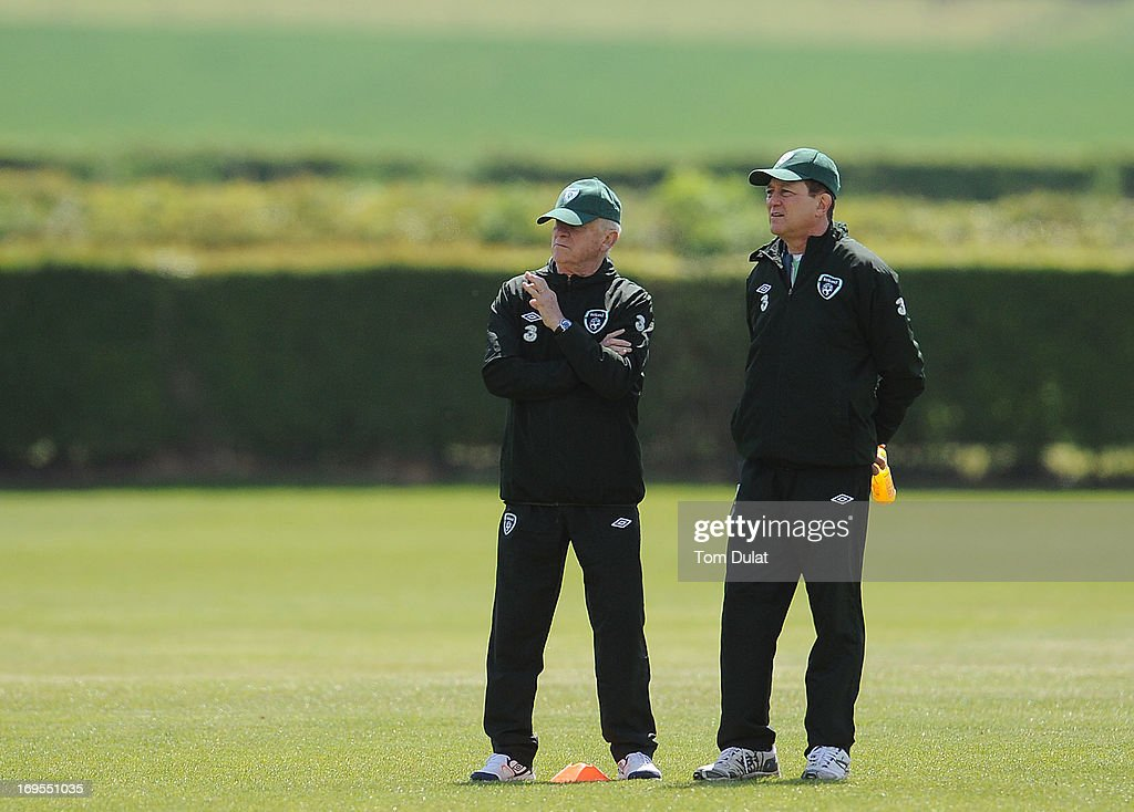 Head coach of Ireland Giovanni Trapattoni (L) looks on during the Ireland training session at Watford FC Training Ground on May 27, 2013 in London Colney, England.