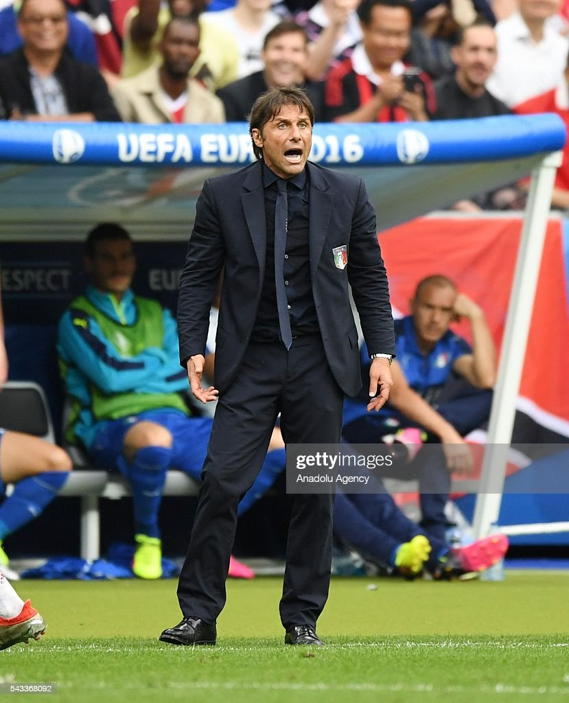 Head coach of Italy Antonio Conte is seen during the UEFA Euro 2016 round of 16 football match between Italy and Spain at Stade de France in Paris, France on June 27, 2016.