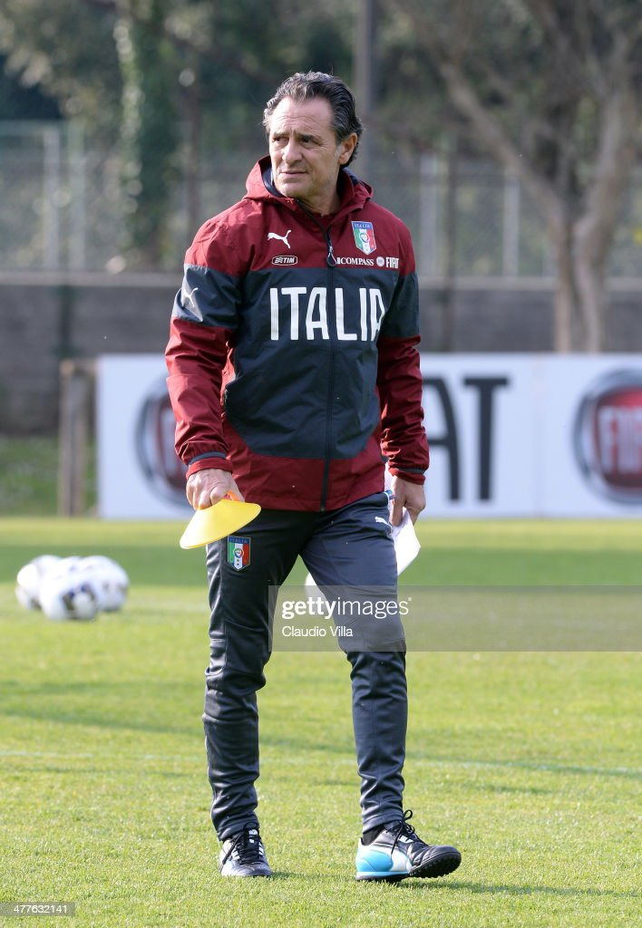 Head coach of Italy <a gi-track='captionPersonalityLinkClicked' href=/galleries/search?phrase=Cesare+Prandelli&family=editorial&specificpeople=742442 ng-click='$event.stopPropagation()'>Cesare Prandelli</a> attends a training session at Acqua Acetosa on March 10, 2014 in Rome, Italy.