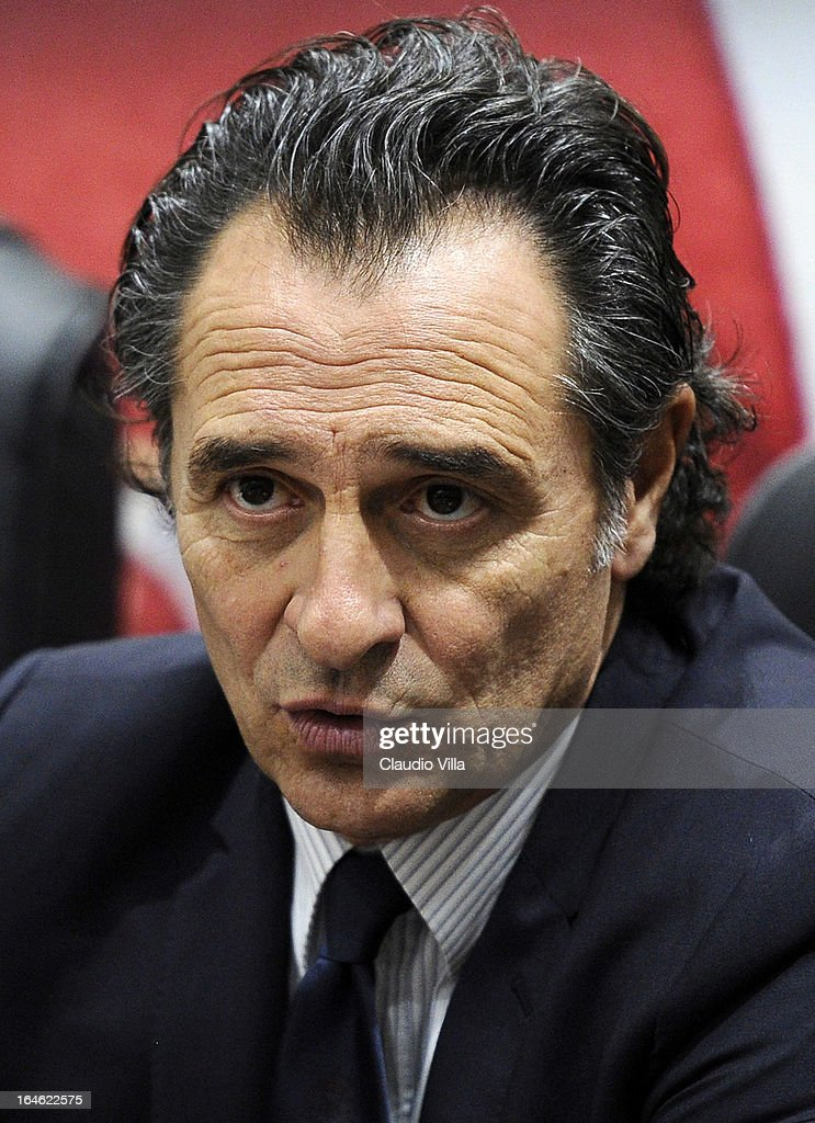 Head coach of Italy <a gi-track='captionPersonalityLinkClicked' href=/galleries/search?phrase=Cesare+Prandelli&family=editorial&specificpeople=742442 ng-click='$event.stopPropagation()'>Cesare Prandelli</a> during a press conference ahead of the FIFA 2014 World Cup qualifier match between Malta and Italy at Ta' Qali Stadium on March 25, 2013 in Valletta, Malta.