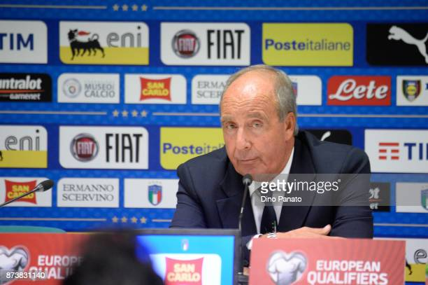 Head coach of Italy Gian Piero Ventura attends a news conference after the FIFA 2018 World Cup Qualifier PlayOff Second Leg between Italy and Sweden...