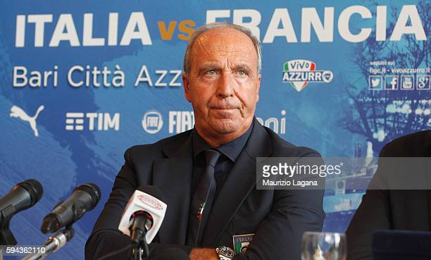 Head coach of Italy Gian Piero Ventura attends an Italian Football Federation press conference on August 23 2016 in Bari Italy