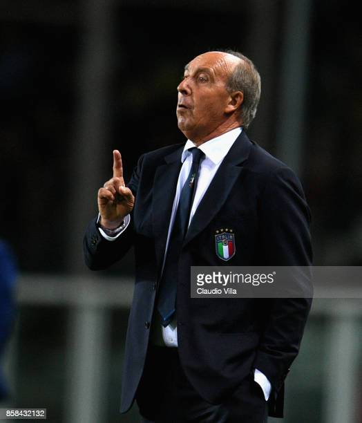 Head coach of Italy Gian Piero Ventura gestures during the FIFA 2018 World Cup Qualifier between Italy and FYR Macedonia at Stadio Olimpico on...