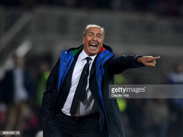 Head coach of Italy Gian Piero Ventura gestures during the FIFA 2018 World Cup Qualifier between Albania and Italy at Loro Borici Stadium on October...