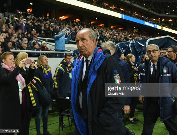 Head coach of Italy Gian Piero Ventura looks on before the FIFA 2018 World Cup Qualifier PlayOff First Leg between Sweden and Italy at Friends Arena...