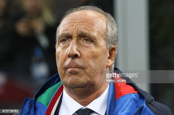 Head coach of Italy Gian Piero Ventura looks on before the FIFA 2018 World Cup Qualifier PlayOff Second Leg between Italy and Sweden at San Siro...