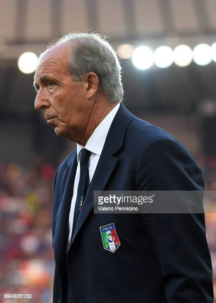 Head coach of Italy Gian Piero Ventura looks on during the FIFA 2018 World Cup Qualifier between Italy and Liechtenstein at Stadio Friuli on June 11...