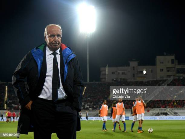 Head coach of Italy Gian Piero Ventura reacts during the FIFA 2018 World Cup Qualifier between Albania and Italy at Loro Borici Stadium on October 9...