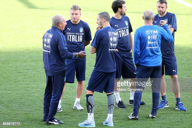 Head coach of Italy Gian Piero with Leonardo Bonucci and Ciro Immobile looks on during the training session