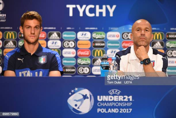 Head coach of Italy Luigi Di Biagio and Daniele Rugani answer questions during a press conference at Tychy City Stadium on June 20 2017 in Tychy...