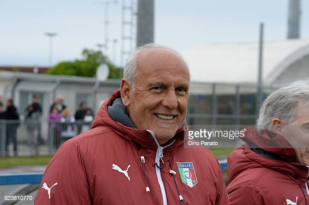 Head coach of Italy U15 Antonio Rocca looks on during the U15 International Tournament match between Italy and England at Stadio Colussi on April 24...