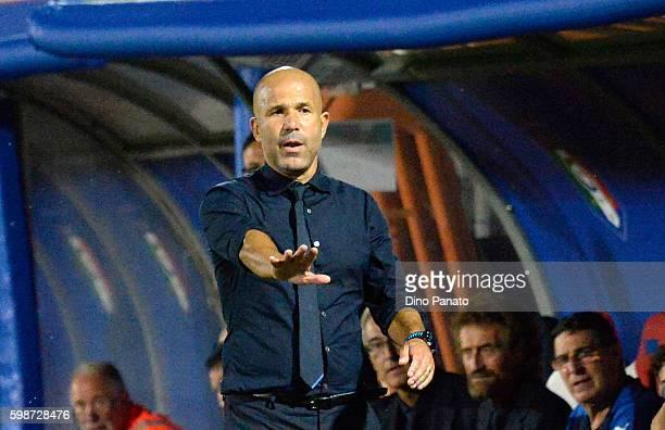 head coach of Italy U21 Luigi Di Biagio looks on during the UEFA European U21 Championships Qualifier between Italy U21 and Serbia U21 at Stadio...
